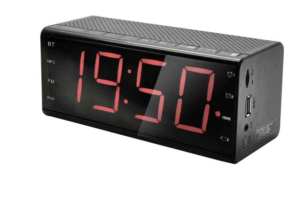 High Quality Bedroom Bluetooth Speaker With Alarm Clock Display And Radio B