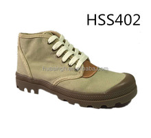 CY,high quality canvas upper beige color army training shoes for daily wear