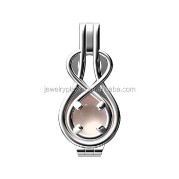Fashion 925 Sterling Silver Infinity Rhodium Plated Necklace 8mm Pearl Cage Pendant