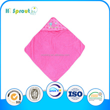 hot sale bamboo fabric baby hooded towel with embroidery