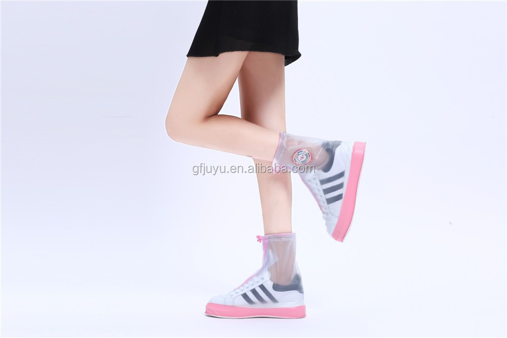 New design fancy rain shoe protector with flat sole for ladies