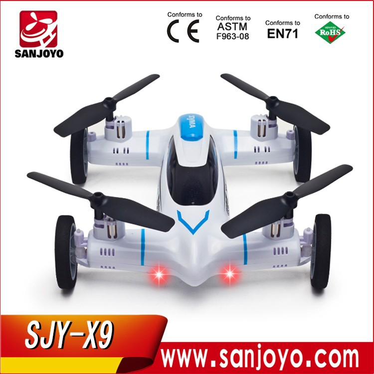 High Quality Syma X9 Fly Car 2.4G 4CH Remote Control RC Quadcopter Helicopter Drone Land / Sky 2 Function in 1 UFO SJY-X9