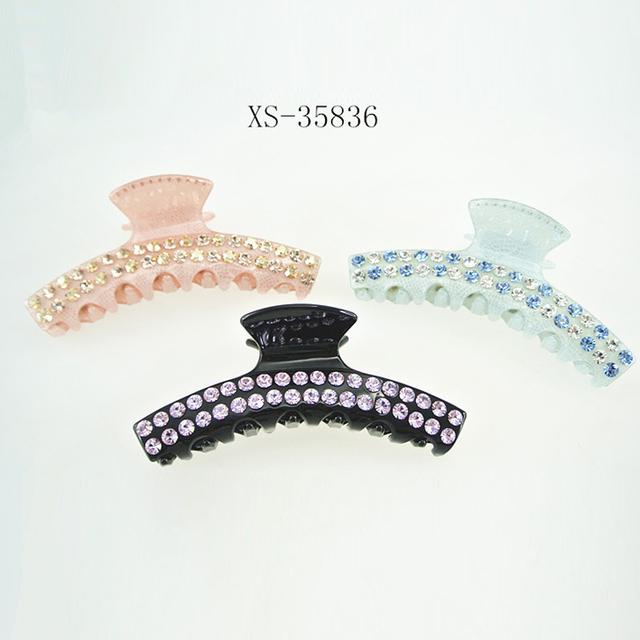 Banana barrette Acrylic Long Claw Clip,Fashion crystal stone Hair Claw Clip For Women