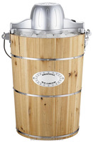 4-6QT WOOD BUCKET ELECTRIC ICE CREAM MAKER WITH EASY CLEAN LINER