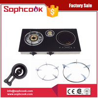 Wholesale india 3 brass burner table top tempered glass gas cooker
