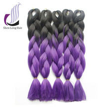 24'' 100g Synthetic Hair Extension Ombre Braiding Purple Two Tone Braid Hair
