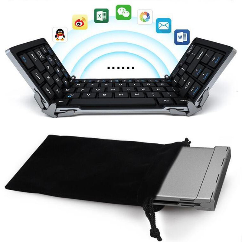 intelligent foldable bluetooth keyboard portable Folding computer keyboard wireless mini keyboard for android ipad 5/air