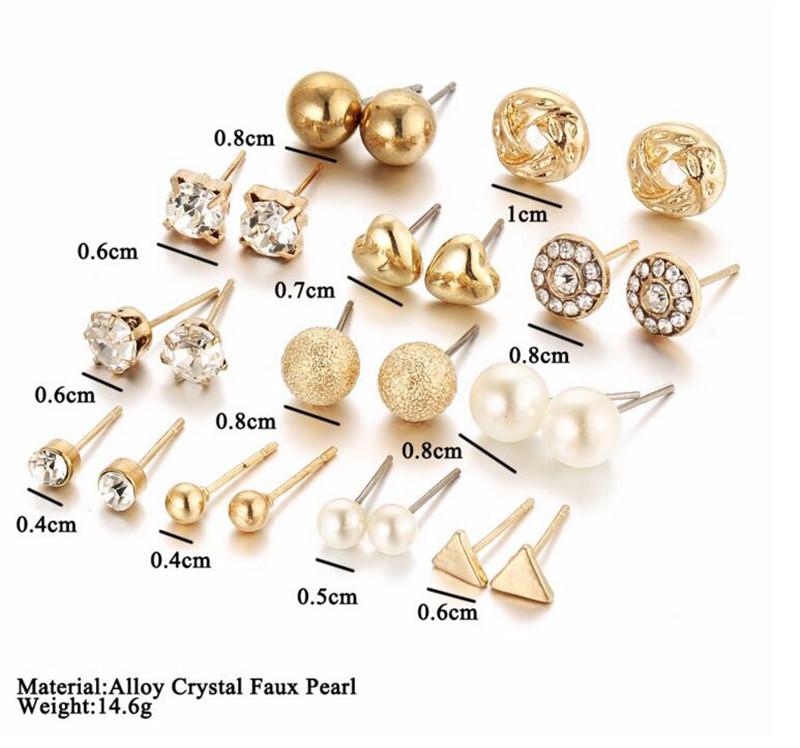 Fashion 12 pair/set Trendy Style Women Square Crystal Heart Stud <strong>Earrings</strong> for Women Piercing Simulated Pearl Flower <strong>Earring</strong>