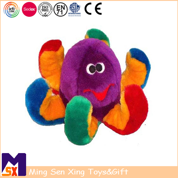 Custom soft sea animal toy colored plush octopus toy for baby