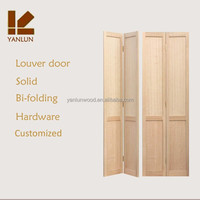 solid New Zealand radiata pine wood design bi-folding wooden door louver