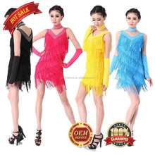 BestDance Latin Dress Ballroom Salsa Samba Rumba Tango Competition Dance Party Fringe Dress [Plus Size] S-XXXL OEM