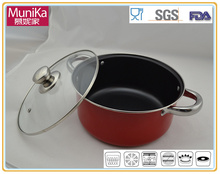 Steel-Handle red Soup Pot casserole Milk pot carbon steel enamelware products 2 pieces casserole pan and pots