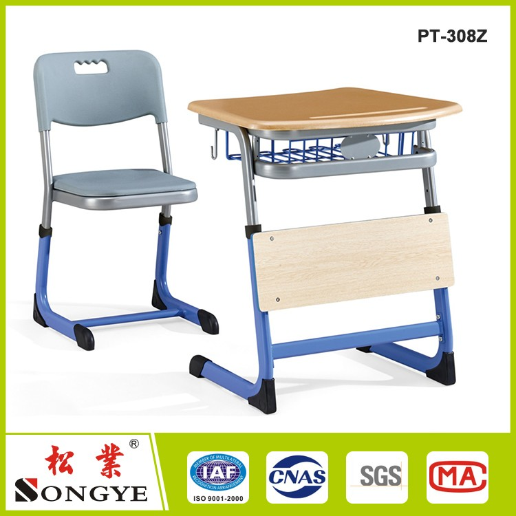 Single lift student desks and chairs thick reinforced summer school courses combination desk wholesale manufacturers