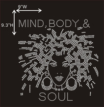 Mind Body and Soul Afro Lady Rhinestone Transfer Motif Iron on Hot Fix Designs