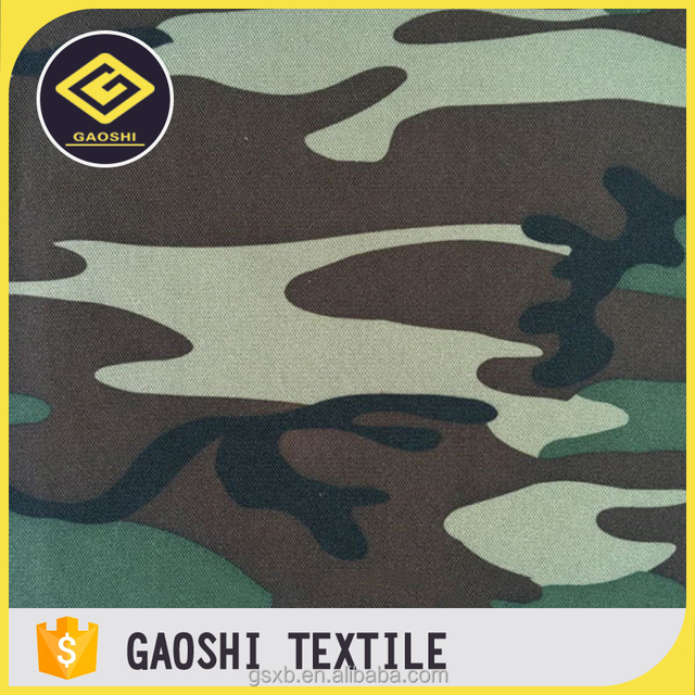 600D Polyester Woodland Camo Printed Oxford Home Textile Fabric With PVC Backing