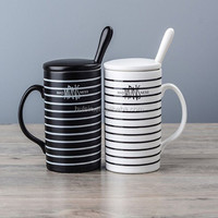 simple stripe ceramic stoneware tall coffee mug with lip for office, drinking cup