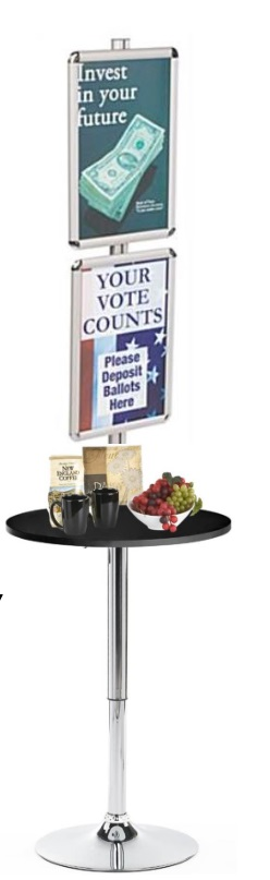 Display Table With Two Sign Frames Round Retail Poster Frame