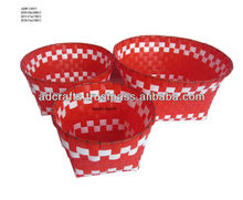CHEAP woven plastic basket with ropes handle