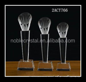High quality custom made badminton crystal award crystal sports trophy