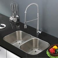 Easy-clean double bowl stainless steel kitchen sink with sound deadening pads