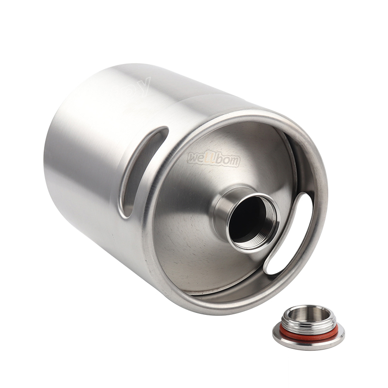 5L Stainless Steel Mini Beer Keg Homebrew Growler Spears Beer Spear with Tap Faucet with CO2 Injector Premium