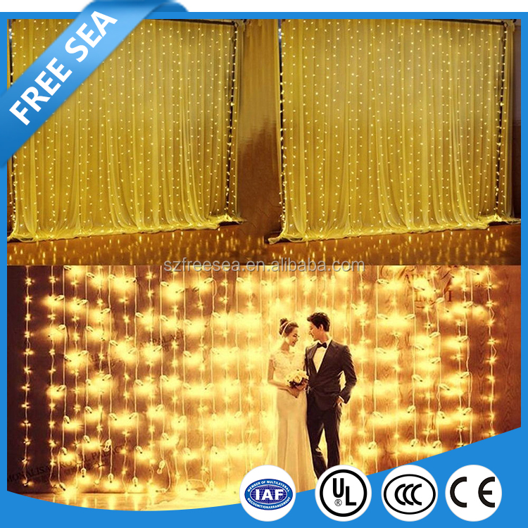 warm white hot sell led fairy curtain lights for wedding and New Year decoration