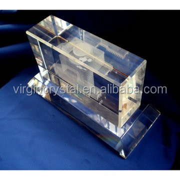 Noble customized Crystal 3d laser models famous Building model for souvenir