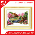 countryside village scenery flower cross stitch embroidery kits