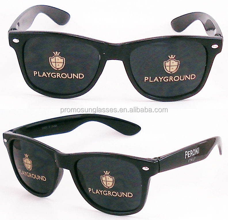 Classic plastic sunglasses for promotion, logos on lenses, UV400 lense meets CE and FDA drop ball test