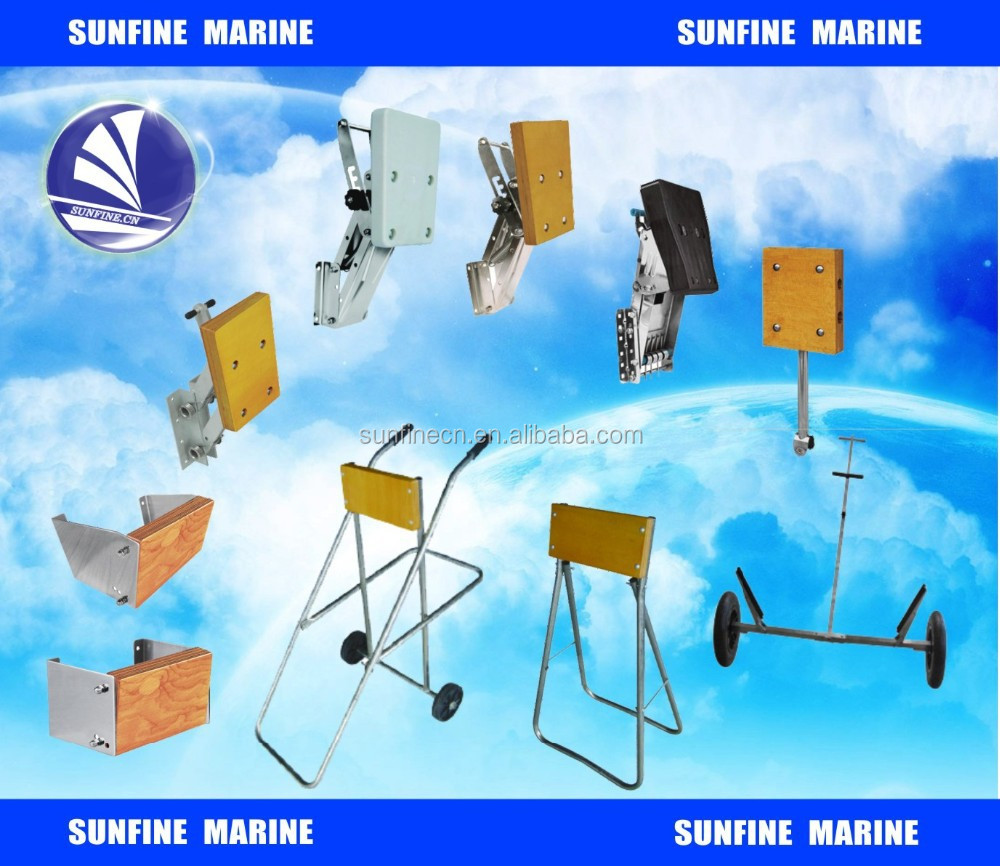 Marine outboard motor bracket/folding trolley for engines
