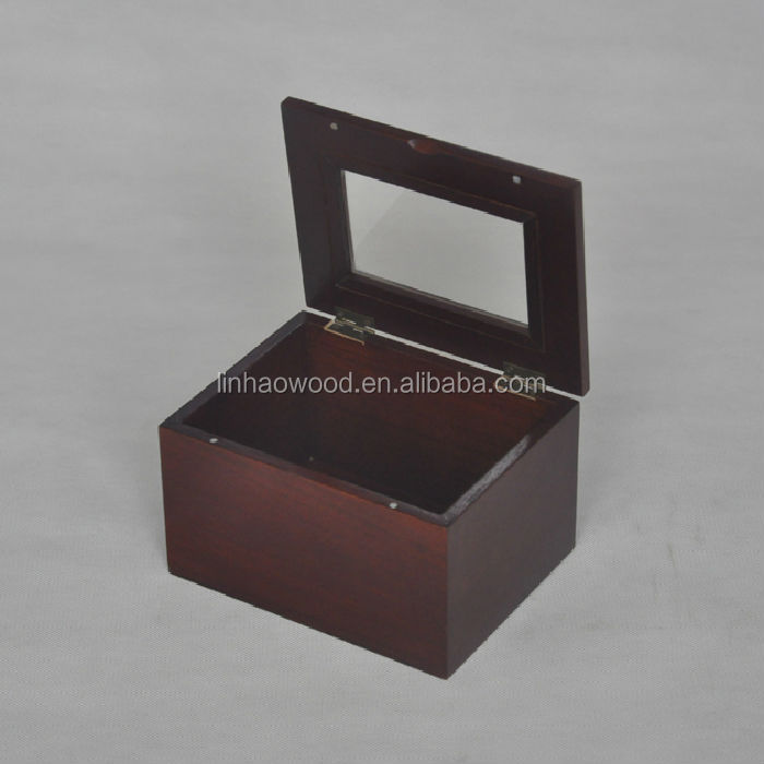 Unfinished adjustable wooden compartment box with glass lid