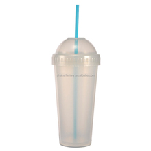 480ml/16oz Personalized Double Layer Insulated Plastic Fruit Juice Cup with Straw, BPA Free Cups XYT-CU480E