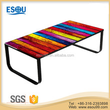 modern colorful tempered glass center table coffee table