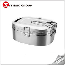 Lunch Dinner Double-check Stainless Steel Food Containers with Handle Lid