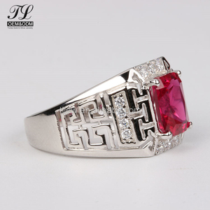 In Stock men's ring with ruby+gemstone rings type and gift,party,anniversary