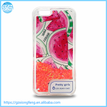 New design Fruit Pattern with LED Light Dynamic Liquid Quicksand Mobile Phone Cover For Iphone 6 Liquid Cell Phone Case