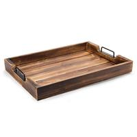 Rustic Torched Wood 20-Inch Serving Tray with Modern Black Metal Handles