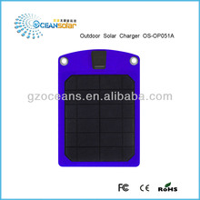 Colorful Outdoor solar charger for cell phone charging DC 5V 5W USB output with constant voltage output