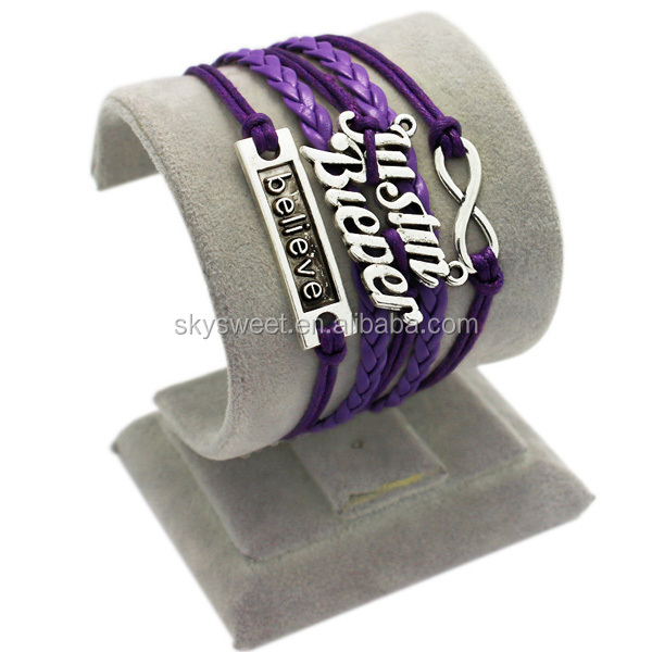 wrap leather bracelet, justin bieder bracelets, cheap super star name bracelet