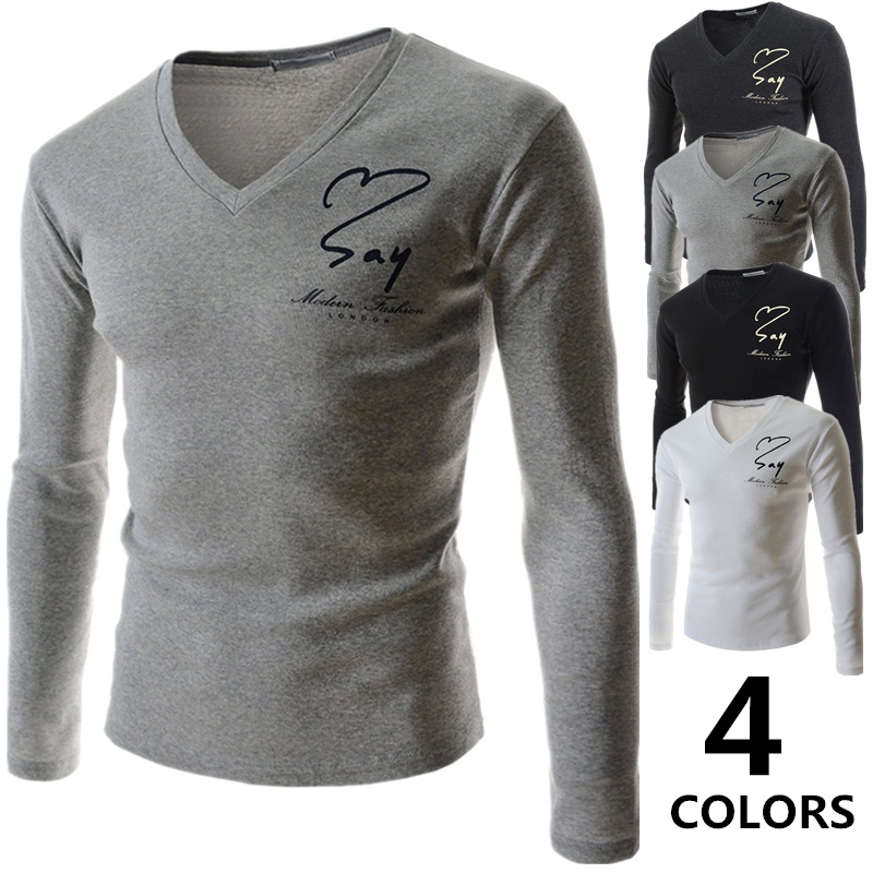 Free Shipping Lasted Fashion V-neck Letter Printed Cotton T-shirt Long Sleeve Shirt Slim Fit Casual Men T-Shirt M-2XL