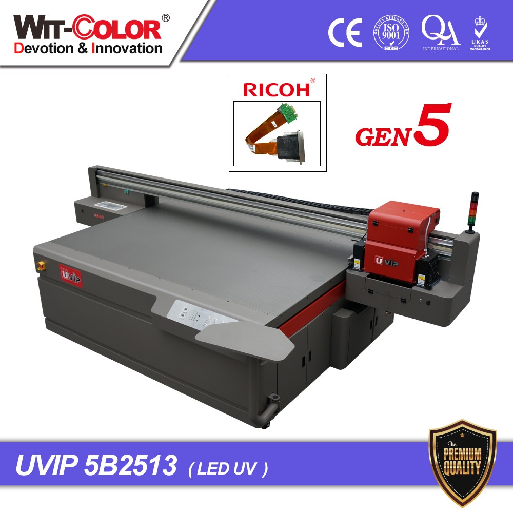 Wit-Color Flatbed Printers for Sale CMYKW Printe UVIP 5B2513r Digital Ceramic Printer