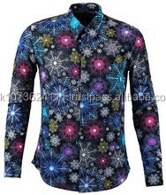 colorful snow shinely printed dress shirt men new model shirts