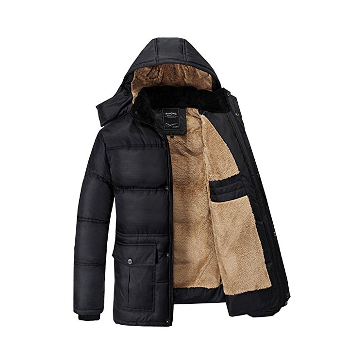Men's Hooded Faux Fur Lined Quilted Winter Coats Jacket