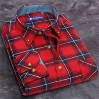 Wholesale custom new fashion red color sanding big check cotton mens formal shirts