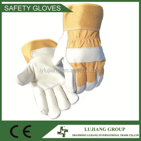 Two fingers full palm cow grain work gloves with yellow acrylic rubberized