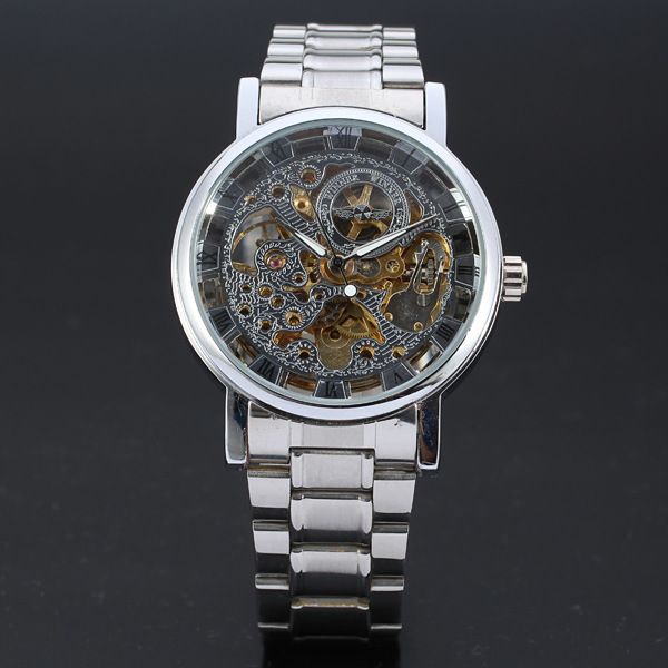 Black stainless steel automatic mechanical watch Winner