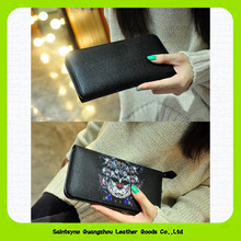 15406 New wallet ladies, skull leather wallet, zipper leather wallet for women