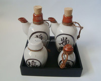 Ceramic tableware cruet set contain oil and vinegar jar salt and pepper shaker with tray