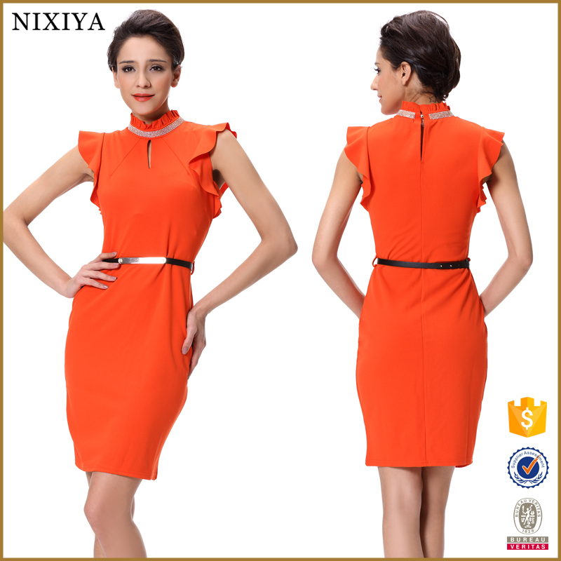 Ladies office wear formal short dresses patterns dress