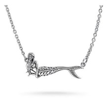 Sterling Silver Nautical Mermaid Pattern Charm Long Chain Necklace